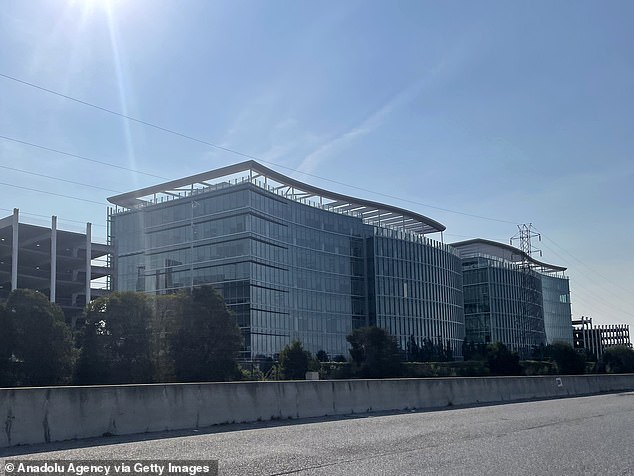 Employees at the company's Menlo Park (pictured) campus had trouble entering buildings because the outage had rendered their security badges useless
