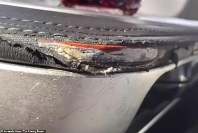 Mr Marcos took pictures of the ripped seats (Above) and was left stunned by hefty £4,000 price tag that British Airways are charging customers for the 'appalling' conditions