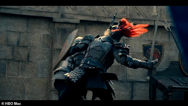 Action! A clip sees a pair of knights on horseback, battling one another in a violent clash