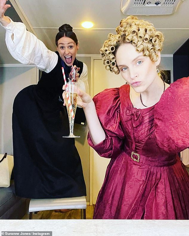 Come here girls!  Suran Jones was in a cheery mood Tuesday as she and co-star Sophie Rundle celebrated wrapping filming for series two of Gentleman Jack