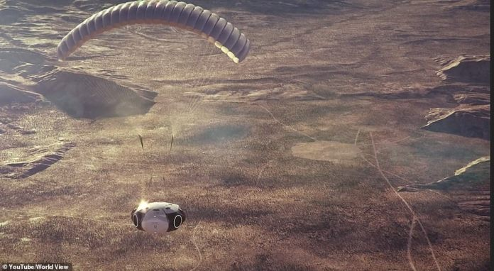 Artist's impression of the capsule returning to Earth over the Arizona desert.  Future flights will operate from beauty destinations around the world