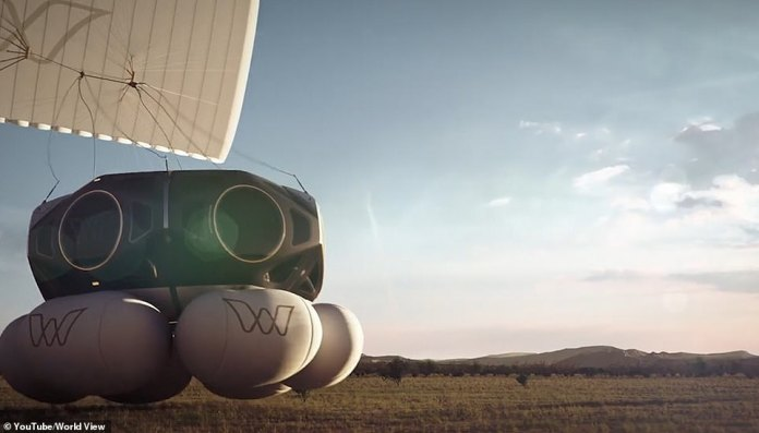 The forward balloons will be used to cushion the landing when passengers return to Earth for up to eight hours after takeoff.  artist's impression