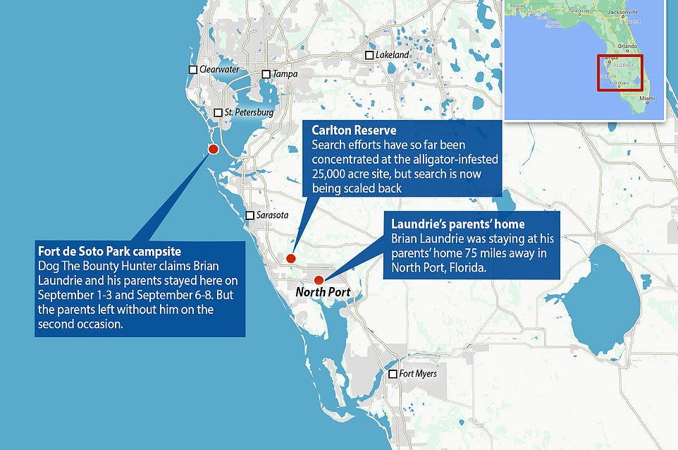 The FBI is examining surveillance footage from the Fort De Soto Park campsite. A map shows the campsite's location to the Laundrie family home and the Carlton Reserve where authorities have focused their search and Laundrie's parents say he was headed