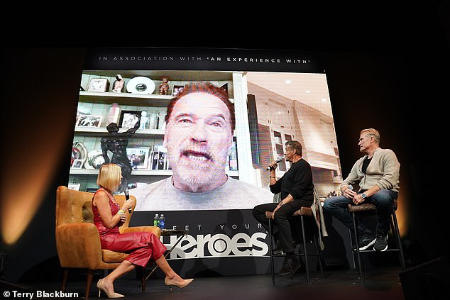 Icon: Completing the star-studded line-up was Arnold Schwarzenegger, who joined the team via video call as he was unable to appear in person due to health reasons