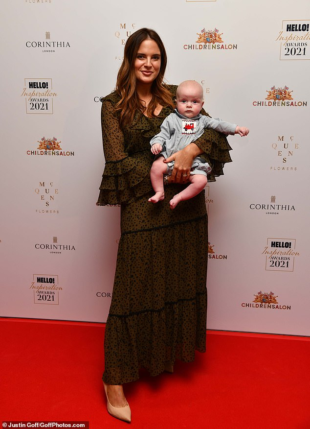 Mother-son outing! Binky Felstead, 31, was glowing as she carried her 4-month-old son Wulfric down the red carpet at the Hello! Awards on Tuesday night