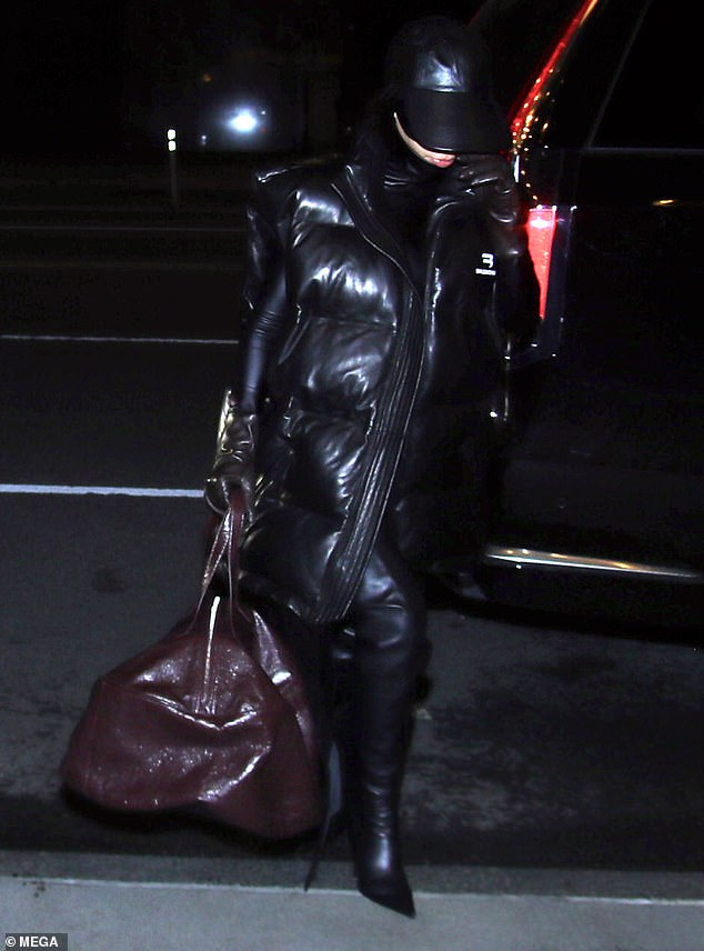 Chic:Kim held her head high as she arrived at her hotel in a stylish Balenciaga look