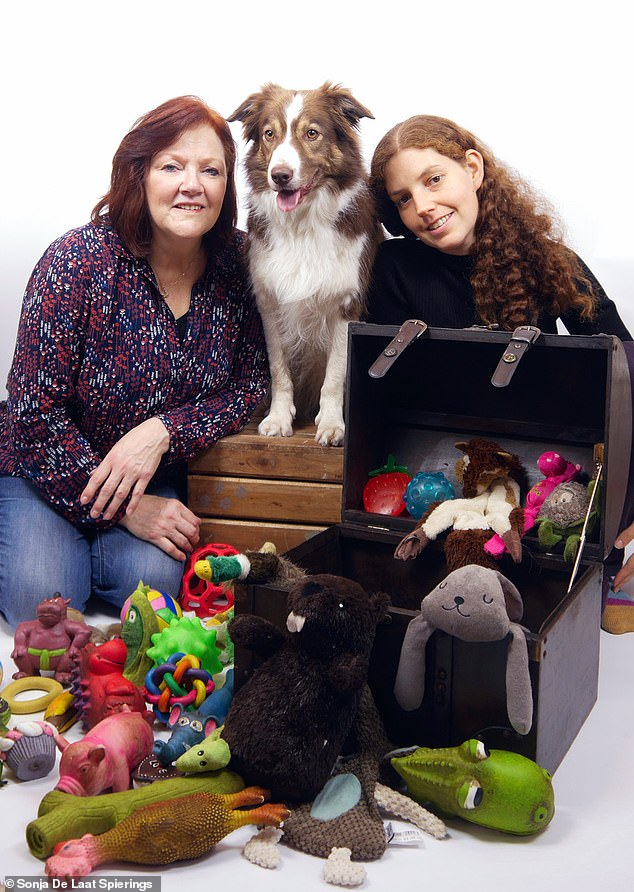 Nalani is seen with her toys and owner Sonja (left) and researcher Shaini (right)