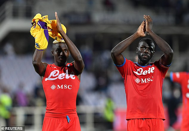 Napoli's Victor Osimhen (L), Kalidou Koulibaly (R) andAndre Frank Anguissa (not pictured) were racially abused by Fiorentina fans over the weekend