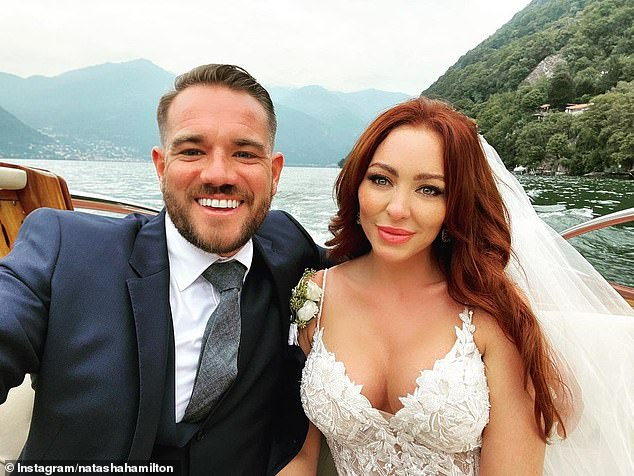 Happy couple: The singer was snubbed from the invite list of the ceremony between Natasha and Charles Gay which took place on Lake Como last month