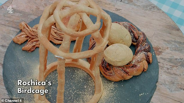 Construction: Rochica disappointed with their milk bread showstopper which included a bird cage, nest and eggs, while also coming in last in the technicality where contestants had to make ciabatta breadsticks