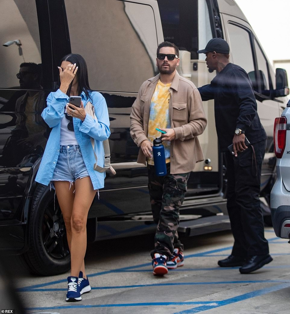 On the go: The duo made their way to the luxury shop after being dropped off in Scott's Sprinter Van