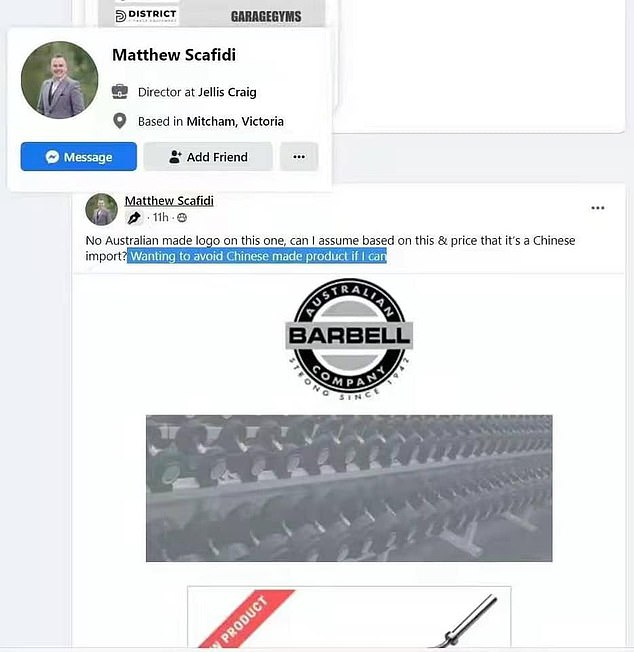 The real estate expert said he wanted to avoid Chinese made products if he could, in relation to a piece of home gym equipment (pictured, the agent's Facebook post)