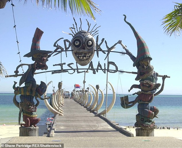 Tangalooma Jetty was used as 'Spooky Island Pier' in the movie and was decorated with flags and figures that represented the terrifying theme park (Pictured: stock image of the movie set decorations)