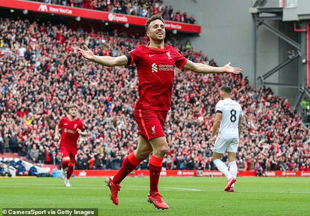 Diogo Jota says he feels as though he is playing in a different club after return of fans to Anfield