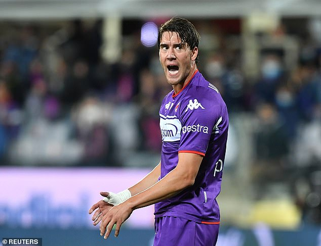 Fiorentina have attached a £77million price tag to star striker Dusan Vlahovic (above)