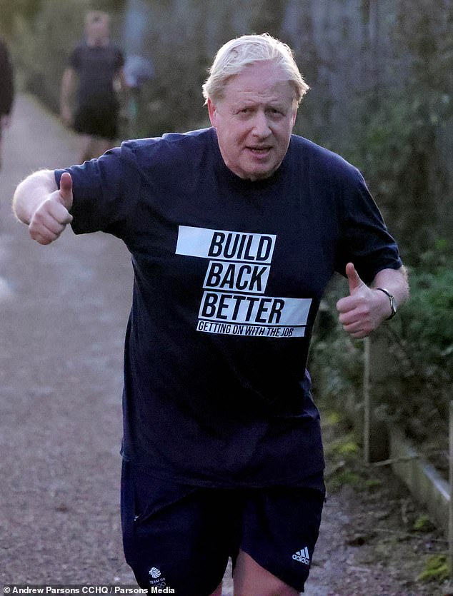 The Prime Minister (pictured) left his Manchester hotel before sunrise for a jog ahead of his key note speech to the Tory Party conference today