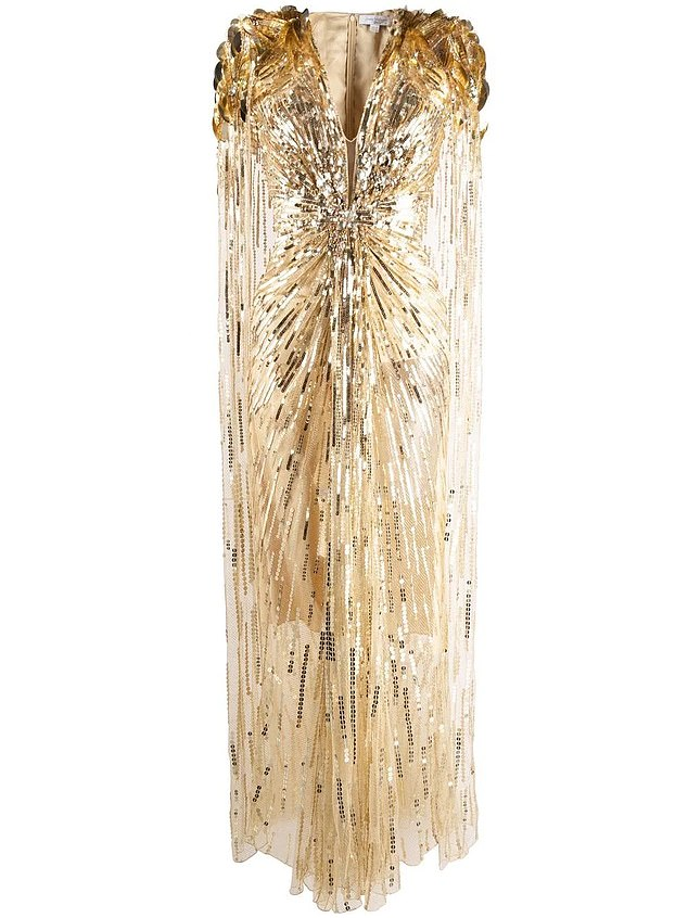 Attention to detail:A floor-length embellished cape is draped over the shoulders and down the back to complete a truly scene-stealing design. It is part of a Jenny Packham capsule collection celebrating 60 years of James Bond