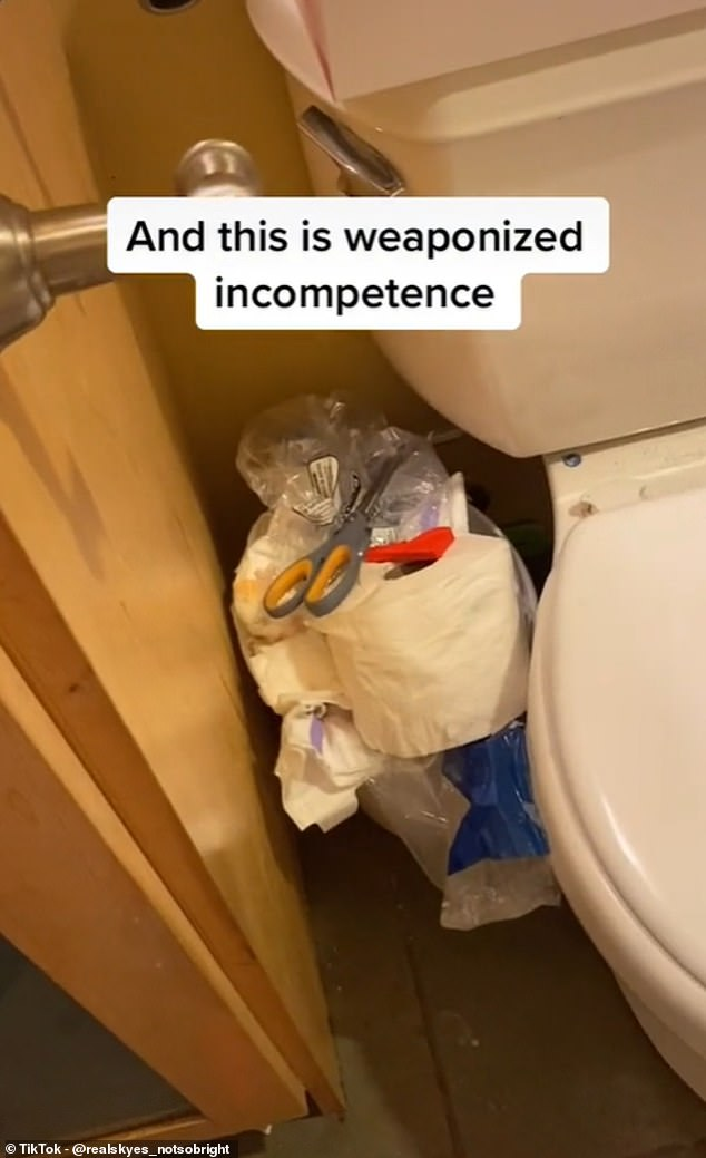 A video tour of a bathroom where the floor is covered with toys, a sink full of dyed water and an overflowing pedal bin has no comments, only the hashtag #weaponizedincompence