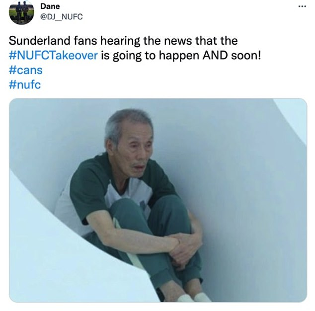 A meme from hit Netflix show 'Squid Game' was used to reflect the mood of Sunderland fans