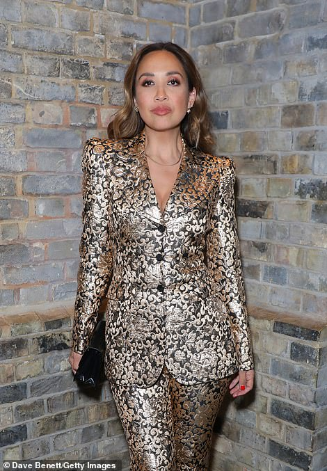 Star-studded: Myleene wore her brunette tresses in loose waves over her shoulders and had a bright manicure