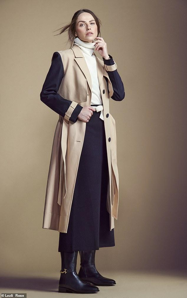 TRENCH Coat, £379, allsaints.com; jumper, £24.90, uniqlo.com; skirt, £128, reiss.com; and boots, £220, boden.co.uk