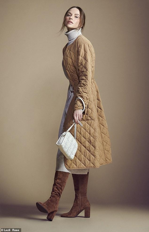 QUILTED Coat, £299,and bag, £159, lkbennett.com; dress, £188, reiss.com; and boots, £220, dunelondon.com
