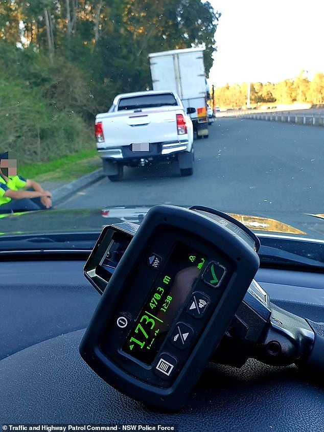 A 19-year-old P-plater (pictured) was clocked doing 173km/hr on the M1 motorway north of Sydney while breaching public health orders