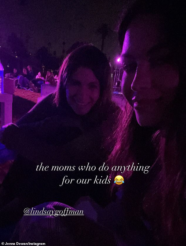 Jenna then posed for a selfie with The Good Doctor executive producer Lindsay Goffman (L) captioned: 'The moms who do anything for our kids'