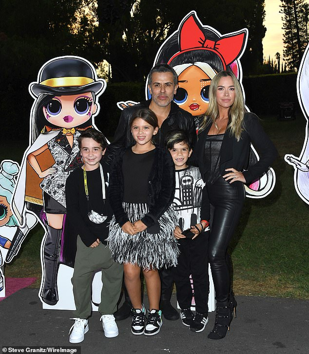 Family affair! The Real Housewives of Beverly Hills alum Teddi Mellencamp and her husband Edwin Arroyave brought their daughter Slate, 9; son Cruz, 7; as well as a friend (L)