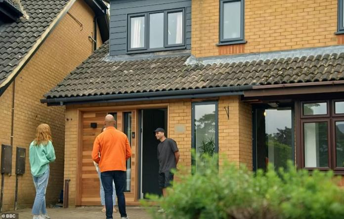 Family Home: Victoria and Raheel built a four-bedroom, '90s building on the 'Cookie Cutter' development in Milton Keynes with a view to starting a family.  The front of the house after the renovation on Pictured, Your Home Made Perfect