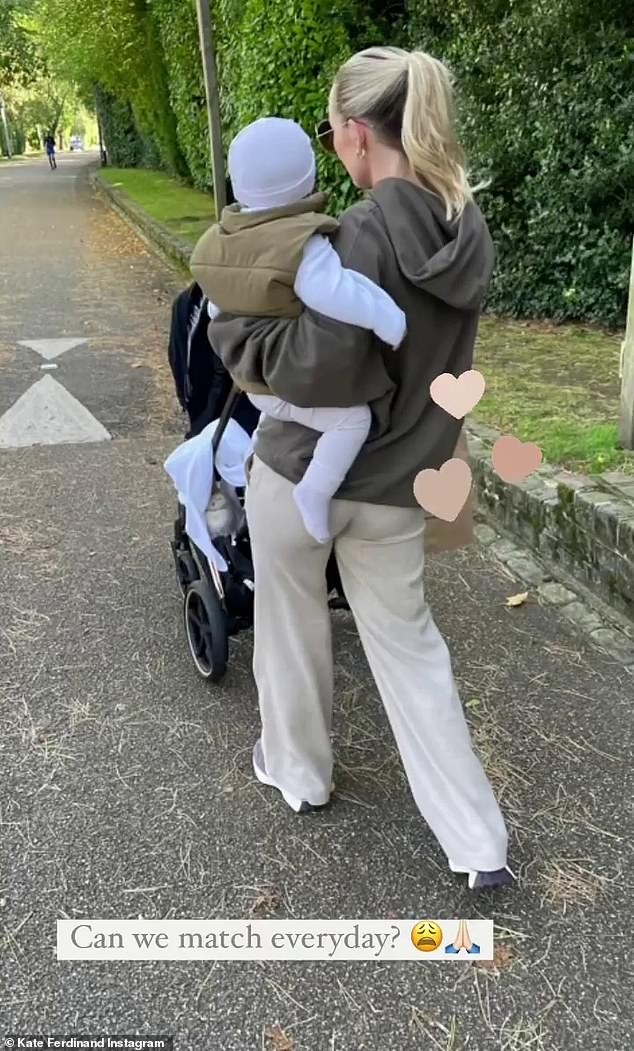Precious: Another gorgeous snap shared to her Stories, saw the reality star cradling son Cree, who she welcomed with Rio in December last year, in a coordinating ensemble