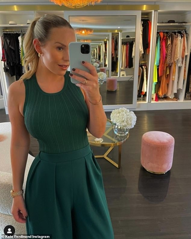 Trim and terrific: Shortly afterwards, Kate took to Instagram again, this time drawing attention to her trim waist in a stretchy forest green tank top and matching high-waisted trousers