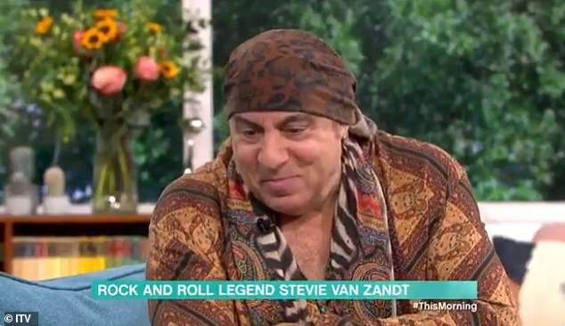 Steven Van Zandt (pictured) has left The Sopranos fans shocked today after appearing on This Morning looking a world away from his sharp-suited character Silvio Dante