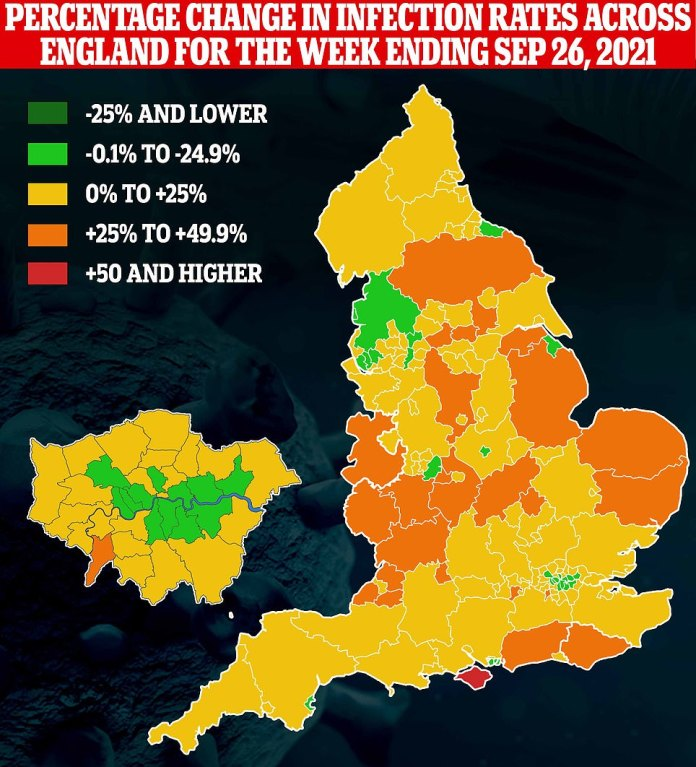 The map shows: the percentage change in the rate of cases in the authorities across England during the week ending September 26