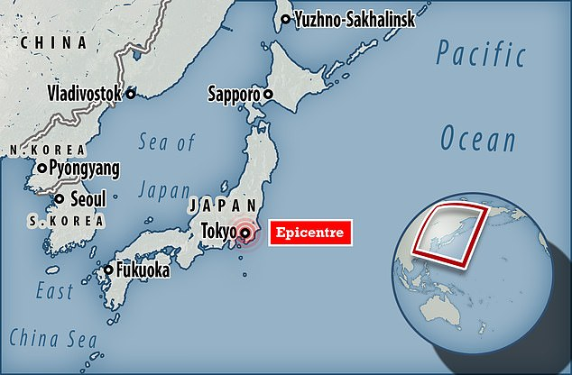 The 6.1-magnitude quake hit at 10:41pm (13:41 GMT). Its epicenter was registered in the Chiba prefecture, just east of Tokyo, at a depth of 48 miles