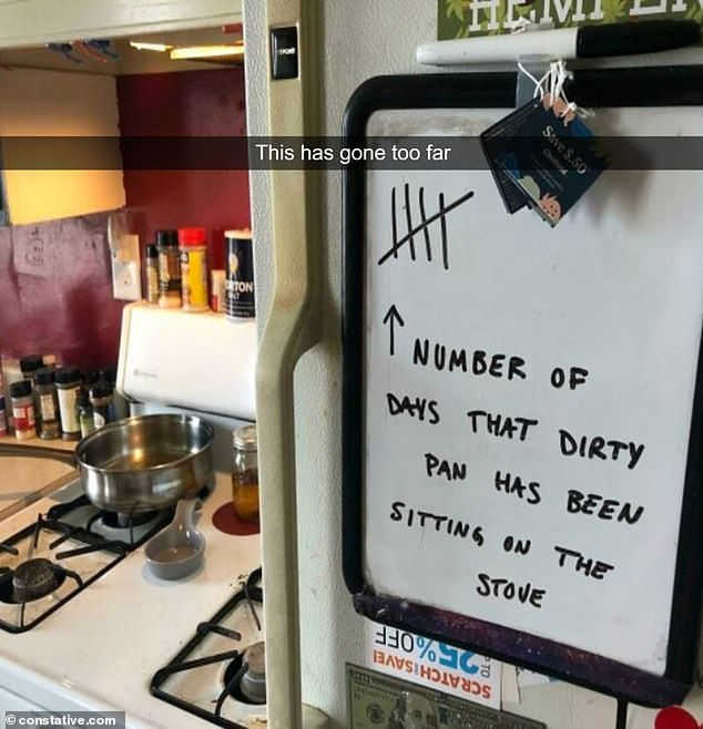 Time for a takeaway!  A frustrated housewife reveals she started a chart to document how long it takes to get a dirty pan off the stove
