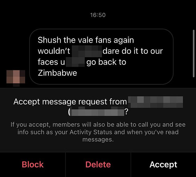 One of the two racist messages Vigouroux received after Leyton Orient's defeat at Port Vale