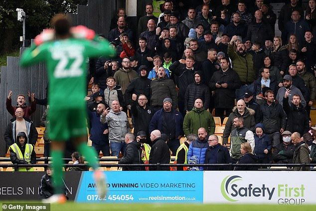 Vigouroux cupped his ears to Port Vale fans after receiving abuse from them during the game