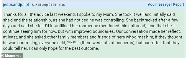 The woman wrote a follow-up post revealing that her mother felt the baby when concerns were raised about her partner