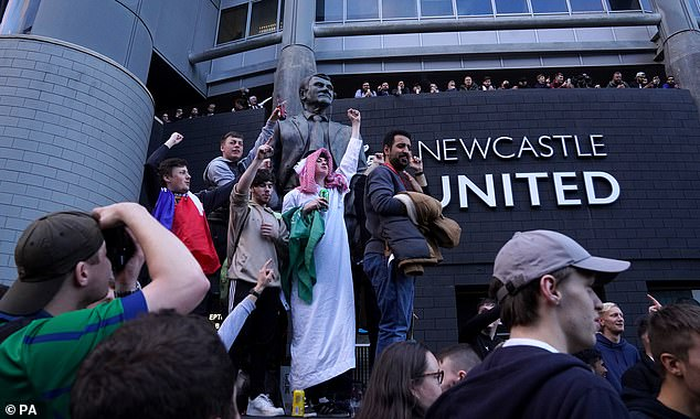 Newcastle fans flocked to St James' to celebrate that the £305m takeover had gone through