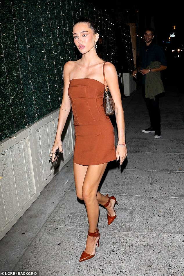Looking good:Delilah Belle Hamlin showed off her phenomenal figure as she stepped out for dinner in West Hollywood on Thursday