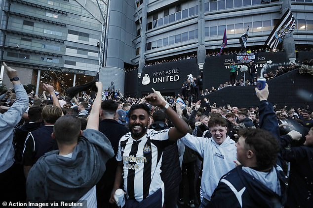 Newcastle fans took to the streets outside St James' Park to celebrate their Saudi takeover