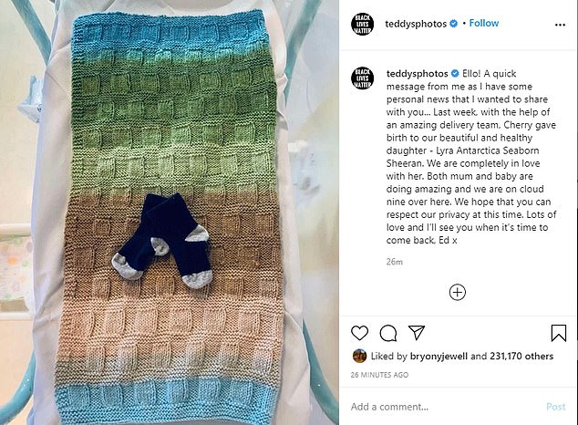 Family: The couple married in 2018 and welcomed their first child, Lyra Antarctica Seaborn Sheeran, last August