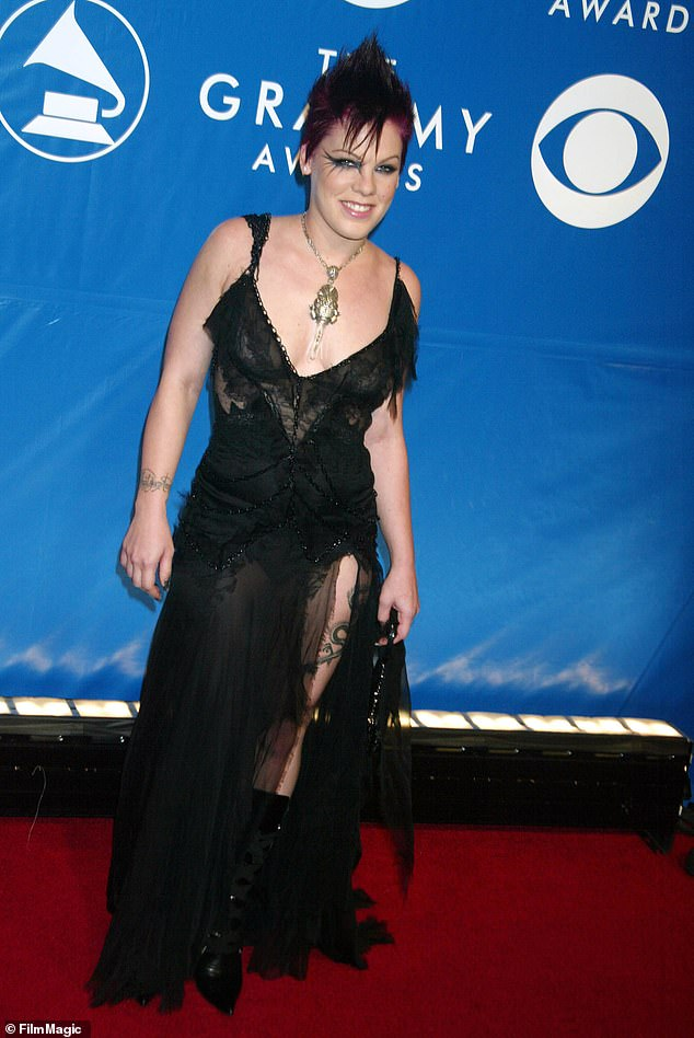 Pink accentuated the look at the 2003 Grammys by giving it a gothic twist - showing off a daring slit can be styled in a number of ways