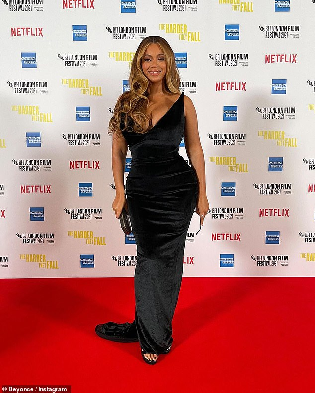 Elegance:Beyonce had all eyes on her as she briefly graced the event's red carpet in a figure-hugging black velvet gown
