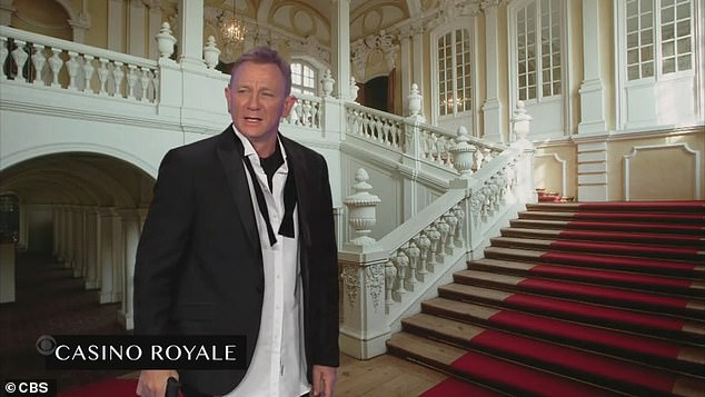 First time:'The name's Bond. James Bond,' Craig said as he fought off a villainous Corden while paying homage to Casino Royale, his first film as Agent 007
