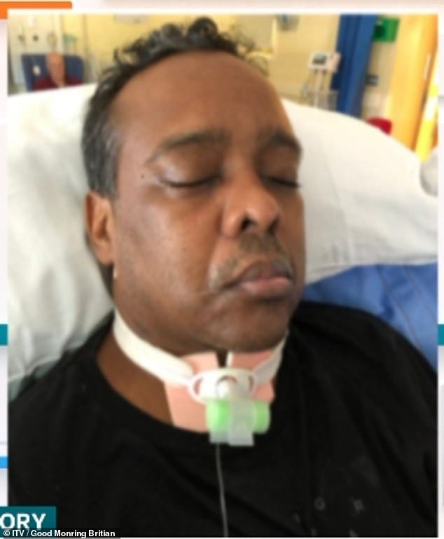 London DJ Steve Lavinier, 57, pictured, has been unresponsive since contracting Covid-19 in March 2020, which caused brain damage.  His family is now raising money to bring him home.  Steve and his brother Bobby appeared in Kate Garraway's award-winning documentary Finding Derekhi