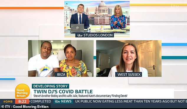 Julie, Bobby and his wife, left, with Kate Garraway and Ben Shepherd, caught on top of Good Morning Britain