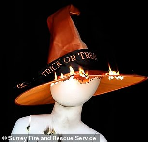 Firefighters set fire to a number of clothes and accessories as part of the test, including witch hats, capes, skeleton tights and pumpkin tops