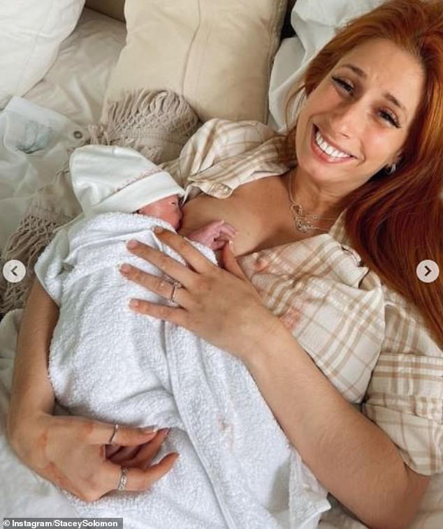 Happy: The story came after she gave birth to her youngest, who she shares with fiancé Joe Swash, on her 32nd birthday